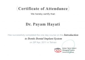 مدارک اخذ شده دکتر پیام حیاتی جراح دندانپزشک